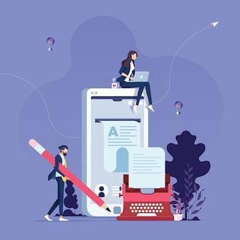 Concept de création d'articles de blog écrivain de contenu