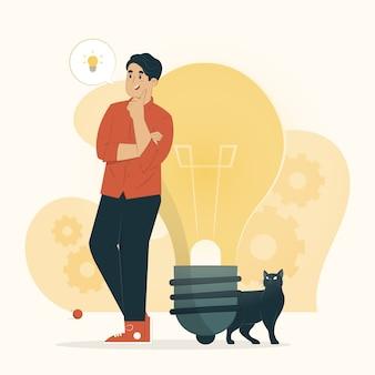 Concept de créativité un homme avec illustration de grandes pensées