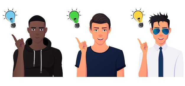 Concept de créativité des hommes avec un groupe multiculturel pointant le doigt en l'air.