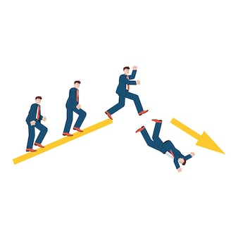 Concept de crise économique mondiale financière avec des gens d'affaires tombant d'une flèche graphique cassée