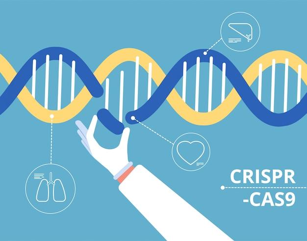 Concept crispr cas9. génie biochimique recherche médicale de gen mutation biologie fond de modification de l'adn