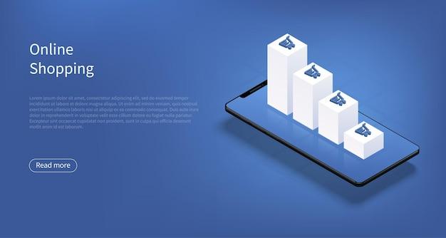 Concept de croissance commerciale des achats en ligne ou du commerce électronique avec téléphone et graphiques à barres en hausse et panier