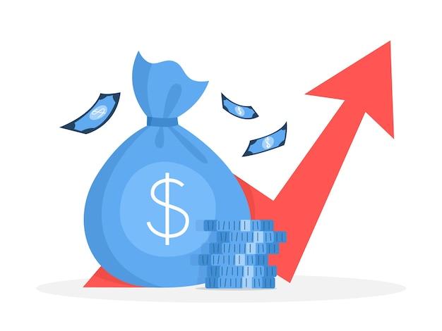 Concept de croissance du financement des entreprises. idée d'augmentation de l'argent. investissement et revenus. bénéfice budgétaire. plat