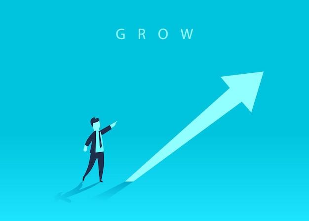 Concept de croissance d'entreprise avec une flèche vers le haut et un homme d'affaires montrant la direction