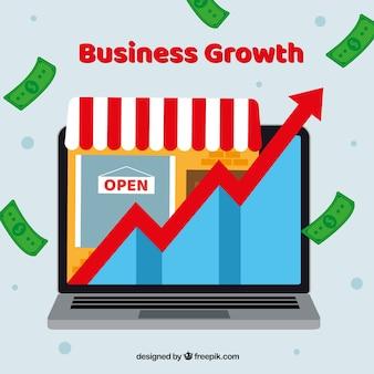 Concept de croissance d'entreprise avec ordinateur
