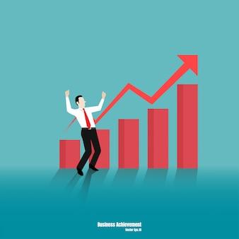 Concept de croissance avec homme d'affaires heureux sur la barre graphique