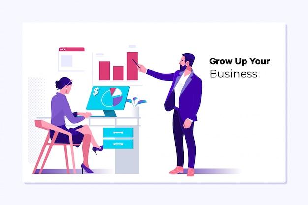 Concept de croissance, de progrès ou de réussite des entreprises