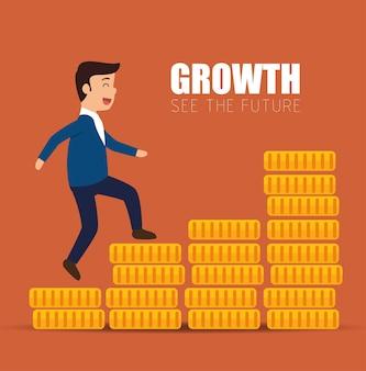 Concept croissance succès homme d'affaires marche escaliers pièces de monnaie