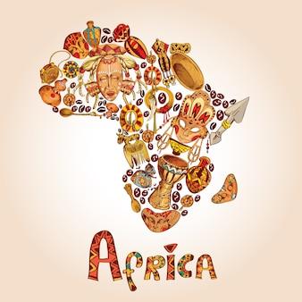 Concept de croquis de l'afrique