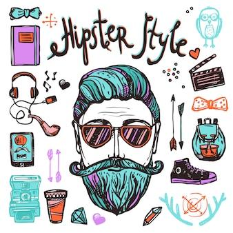 Concept de croquis de dessin animé hipster