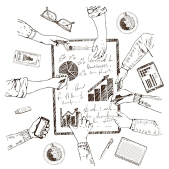 Concept de croquis de planification d & # 39; entreprise
