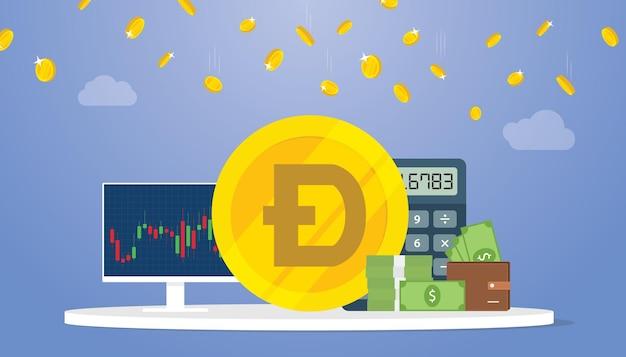Concept de crypto-monnaie doge ou dogecoin avec du graoh et du graphique et de l'argent comptant avec un appartement moderne