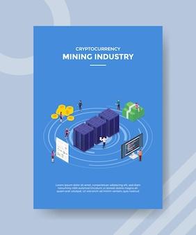 Concept de crypto-monnaie de l'industrie minière pour la bannière de modèle et le dépliant avec vecteur de style isométrique