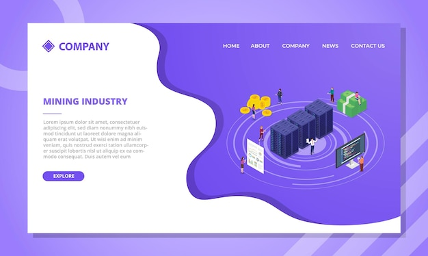 Concept de crypto-monnaie de l'industrie minière pour le modèle de site web ou la page d'accueil de destination avec vecteur de style isométrique