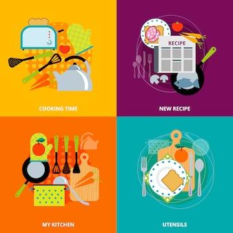 Concept de cuisine 4 icônes plates carrées
