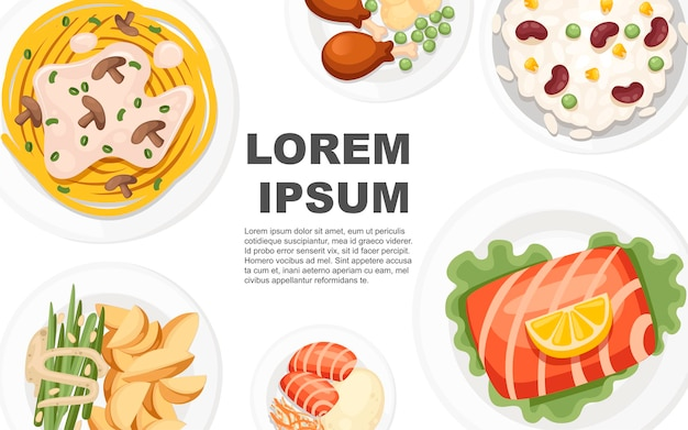 Concept de cuisine traditionnelle du monde entier pour les logos de menu et les étiquettes illustration à plat