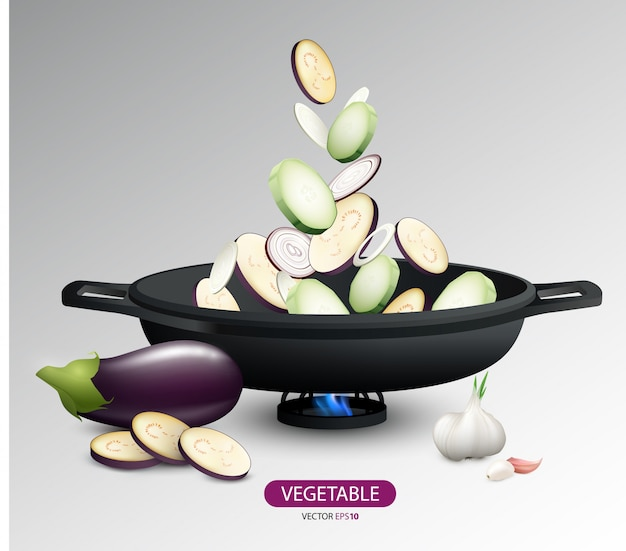 Concept de cuisson réaliste de légumes frais