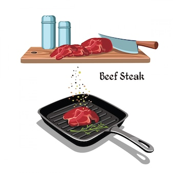 Concept de cuisson de steak de boeuf dessiné à la main