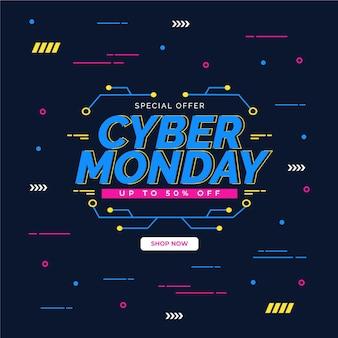 Concept de cyber lundi design plat
