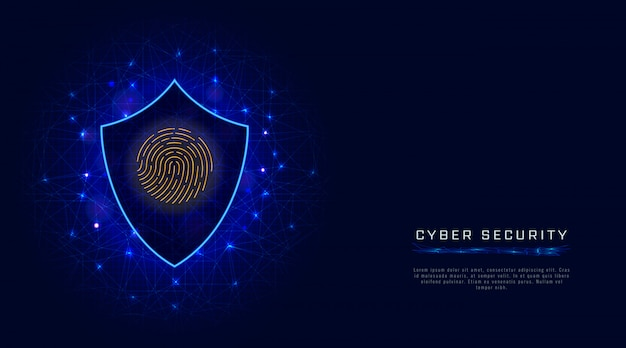Concept de cybersécurité. bouclier, balayage d'empreintes digitales. protection des données en nuage sur fond abstrait