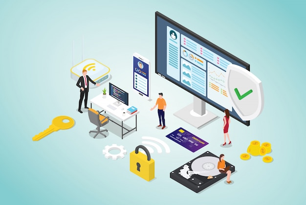 Concept de cybersécurité avec des collaborateurs et programmeur de code sécurisé avec style plat moderne et design isométrique