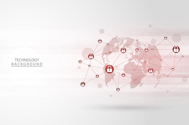 Concept de cybersécurité sur fond gris, internet numérique abstrait. technologie de fond abstrait. illustration vectorielle