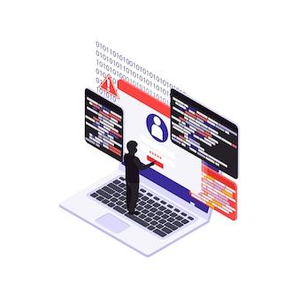 Concept de cybersécurité isométrique avec pirate informatique pénétrant dans un compte personnel sur ordinateur