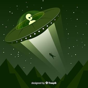 Concept d'enlèvement d'OVNI avec design plat