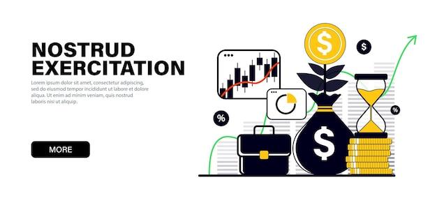 Concept dans des couleurs noires plates modernes sur l'augmentation de capital d'investissements de sujet