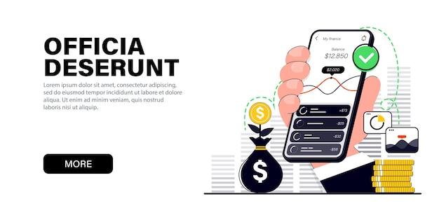 Concept dans des couleurs noires plates modernes sur le thème paiement via le contrôle des coûts du smartphone
