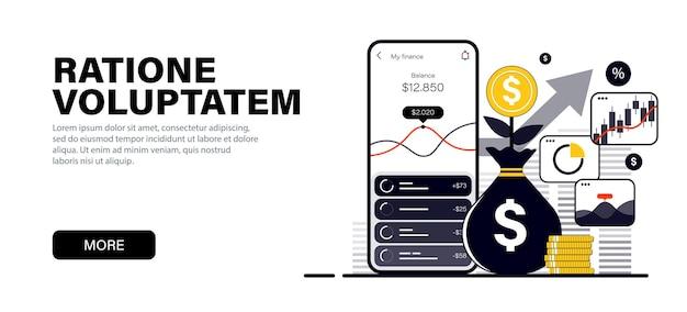 Concept dans des couleurs noires plates modernes sur le thème paiement via l'investissement en ligne sur smartphone