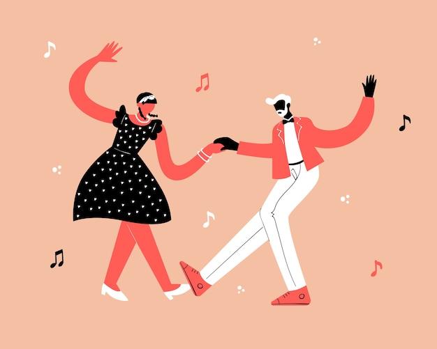 Concept de danse de fête rétro. black jeune couple danse swing, lindy hop, rock n roll.