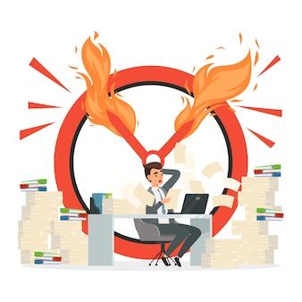 Concept de date limite. chef de bureau et chaos au travail illustration