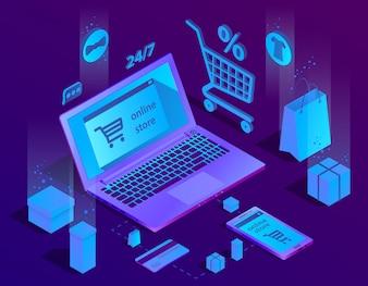 Concept de commerce électronique isométrique 3D, boutique en ligne