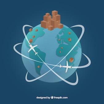 Concept de commerce international moderne avec un design plat