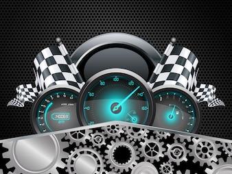 Concept de compteur de voiture de course