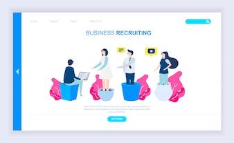 Concept de design plat moderne de recrutement des entreprises