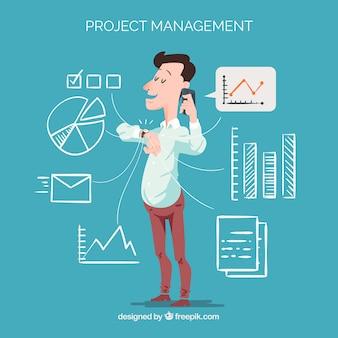 Concept de gestion de projet plat avec appel de l'homme