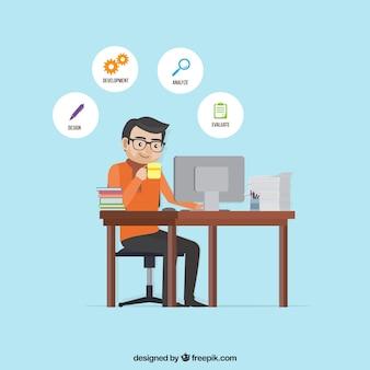 Concept de gestion de projet plat avec l'homme au bureau