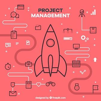 Concept de gestion de projet plat rouge