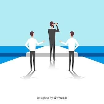 Concept de leadership dans le style plat