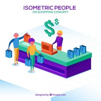 Concept de magasinage en ligne isométrique