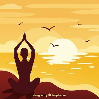 Concept de méditation avec style de silhouette