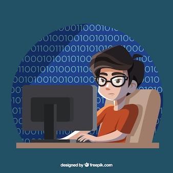 Concept de programmeurs avec design plat