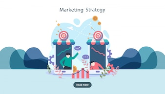 Concept de stratégie marketing numérique avec un personnage minuscule.