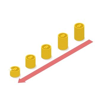Concept de déclin de bitcoin de crypto-monnaie.