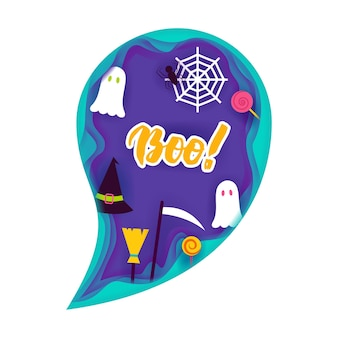 Concept de découpe de papier fantôme d'halloween. illustration vectorielle. la charité s'il-vous-plaît.
