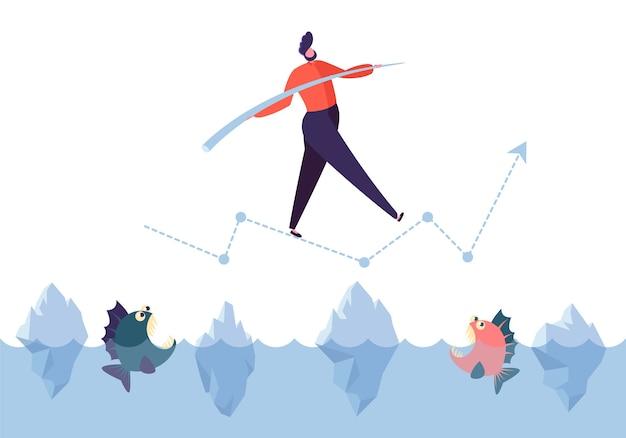 Concept de défi commercial. personnage d'homme d'affaires marchant sur la flèche au-dessus de l'océan avec des requins. risques financiers.