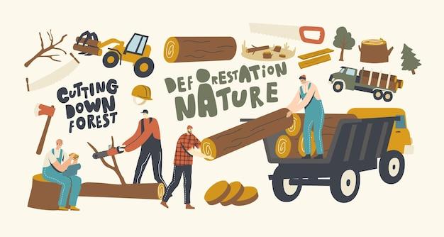 Concept de déforestation. personnages masculins de bûcheron en salopette de travail avec camion, équipement et outils d'exploitation forestière. bûcherons utilisant une tronçonneuse coupant des bûches de bois. illustration vectorielle de personnes linéaires