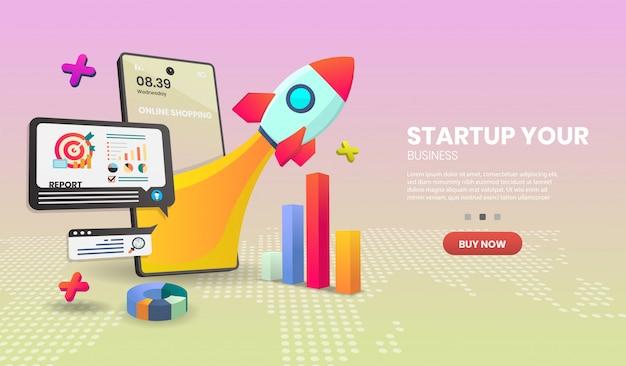 Concept de démarrage sur application mobile. concept de smartphone de boutique en ligne adapté à l'application de bannière.